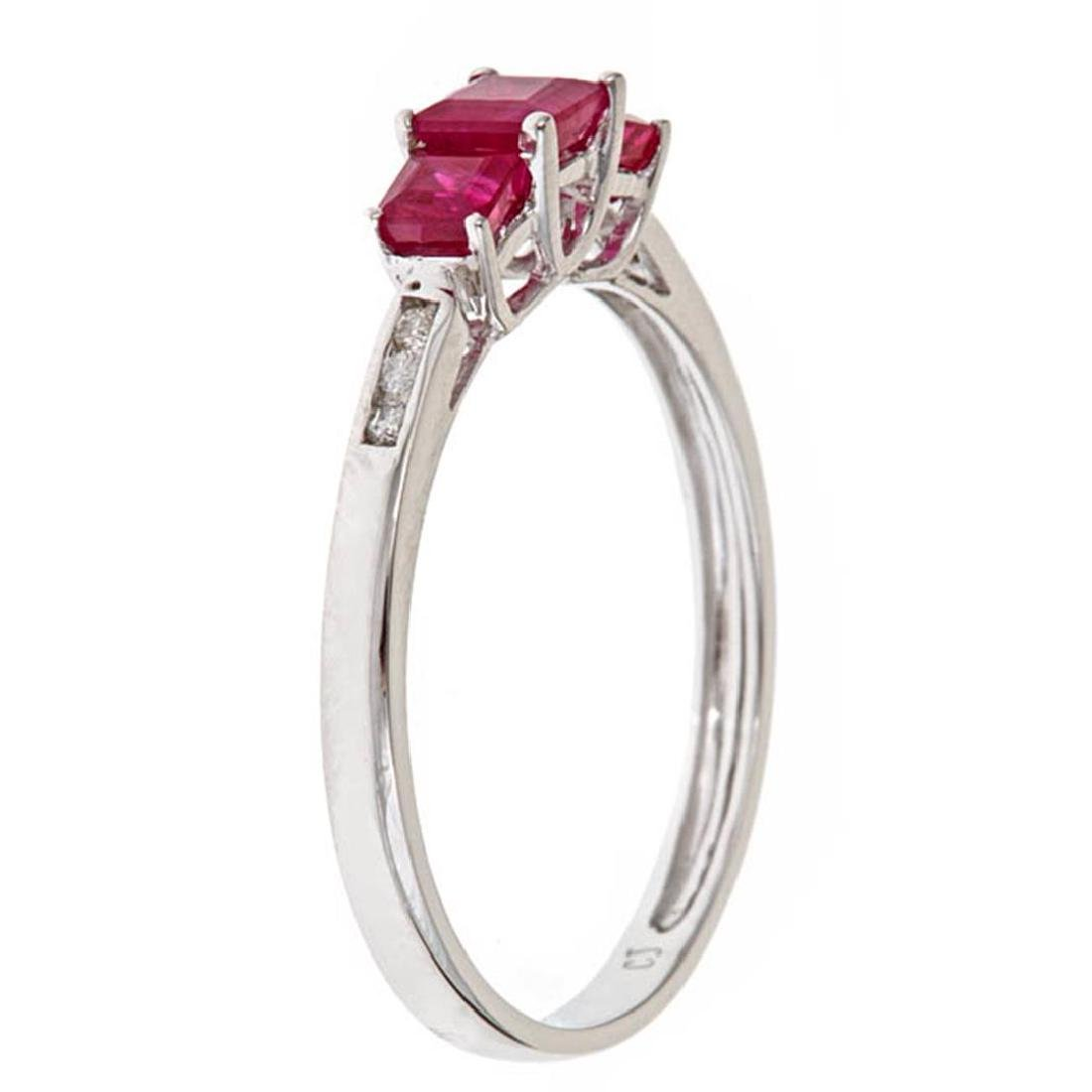 0.75 ctw Ruby and Diamond Ring - 14KT White Gold - 2