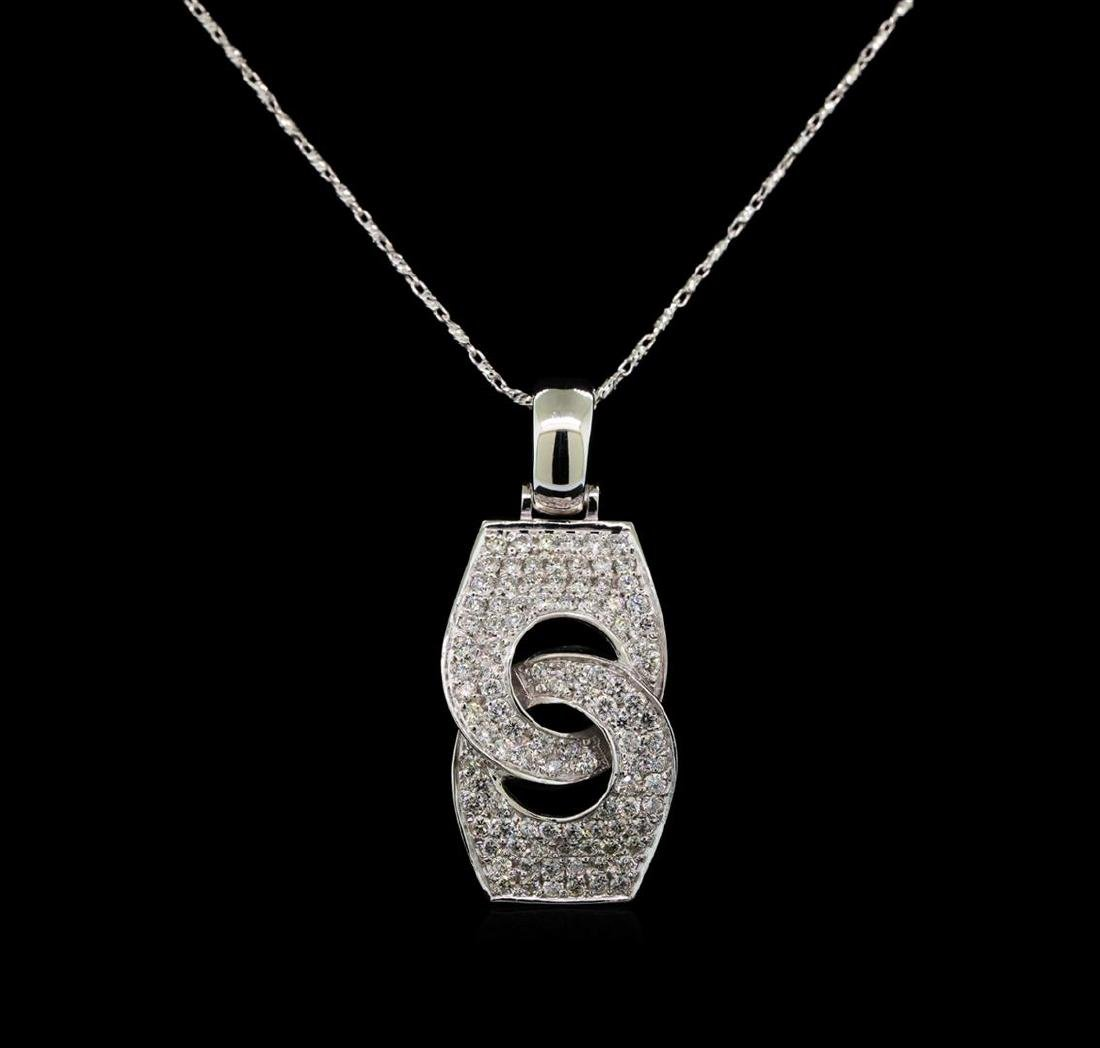 14KT White Gold 0.83 ctw Diamond Pendant With Chain - 2