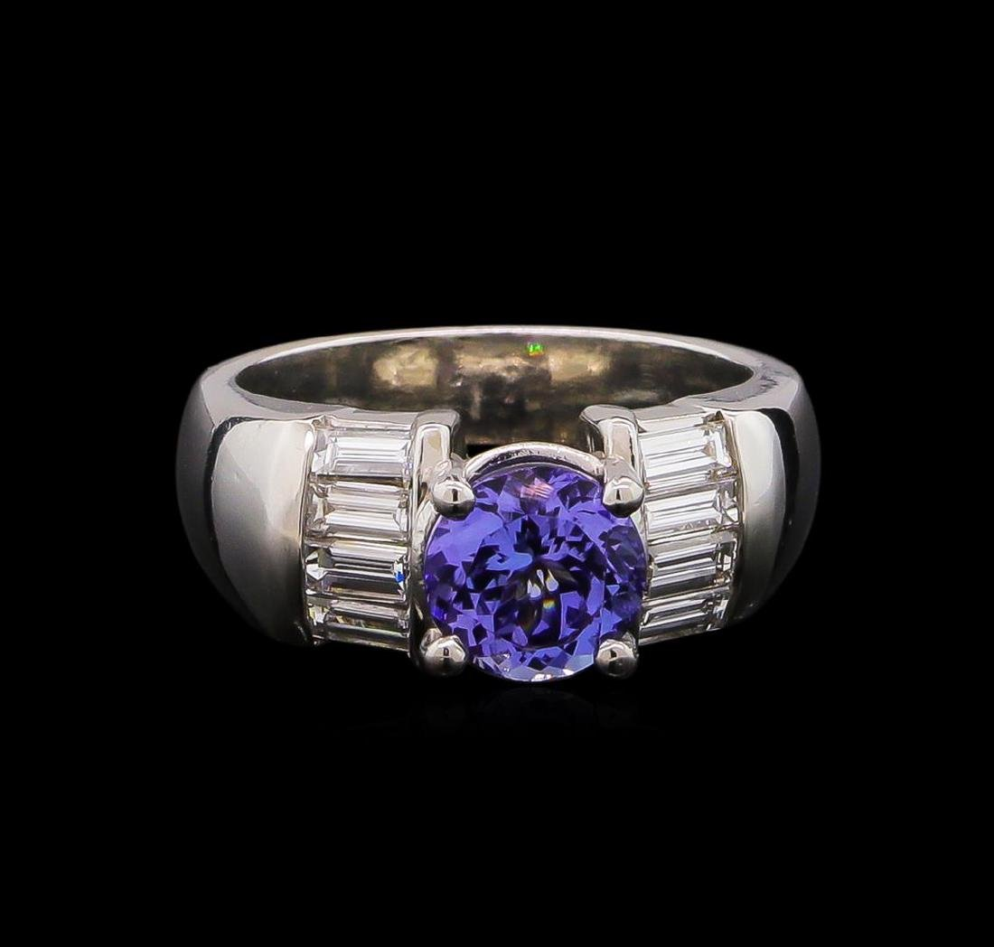Platinum 1.63 ctw Tanzanite and Diamond Ring - 2