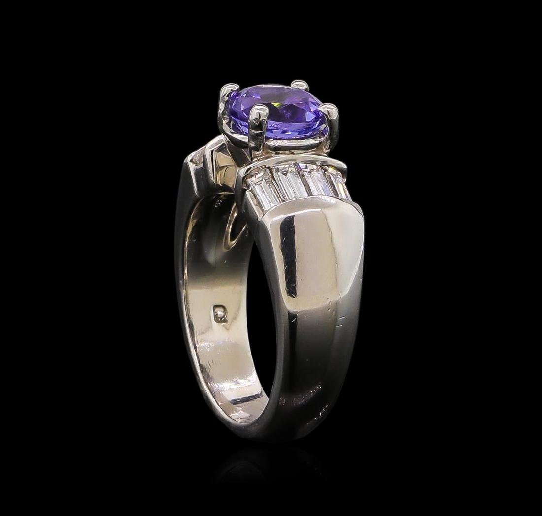 Platinum 1.63 ctw Tanzanite and Diamond Ring - 4
