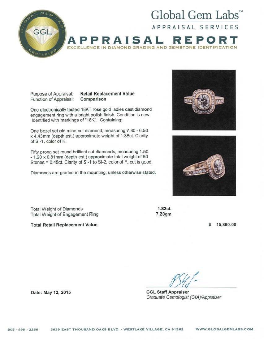 18KT Rose Gold 1.83 ctw Diamond Ring - 4