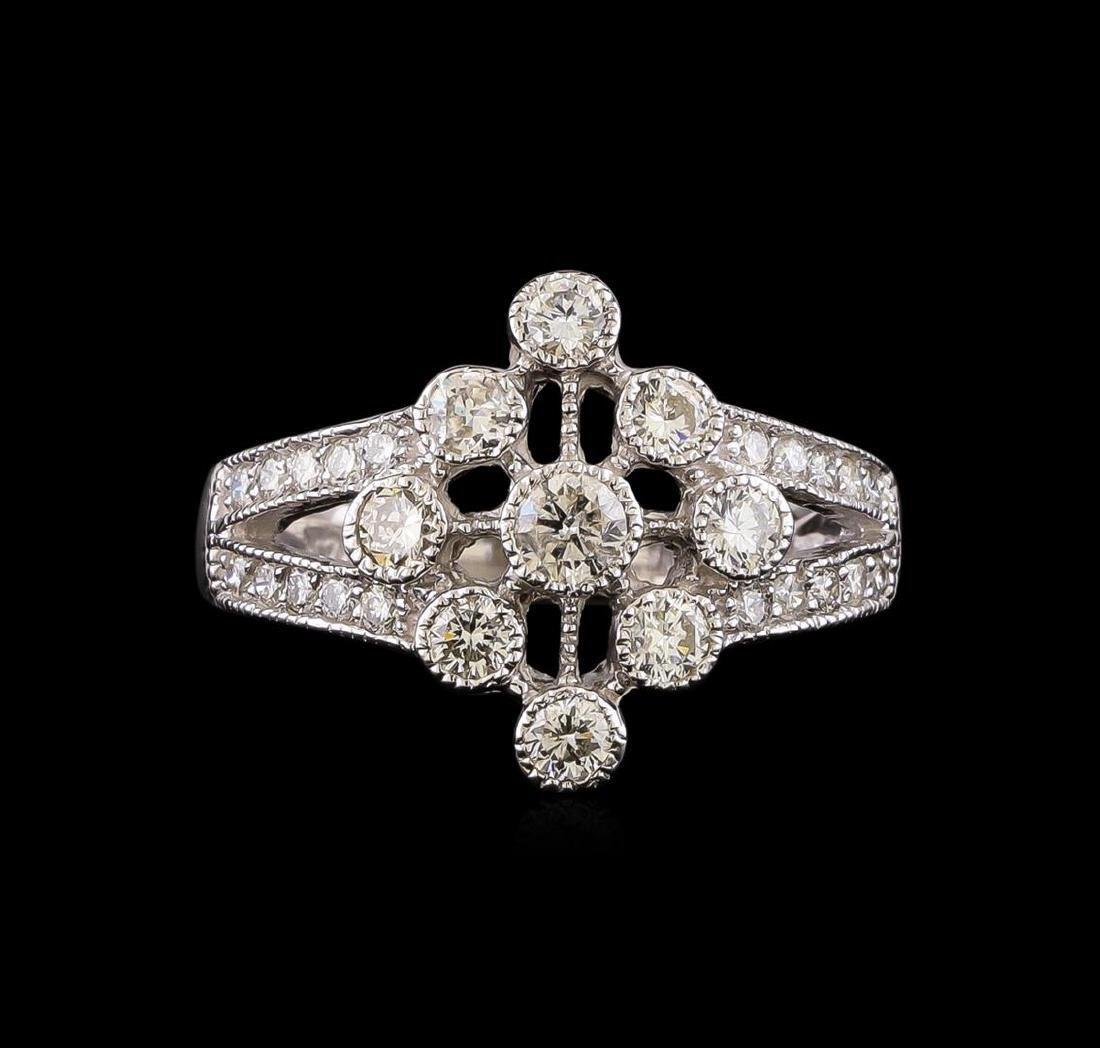14KT White Gold 0.85 ctw Diamond Ring - 2