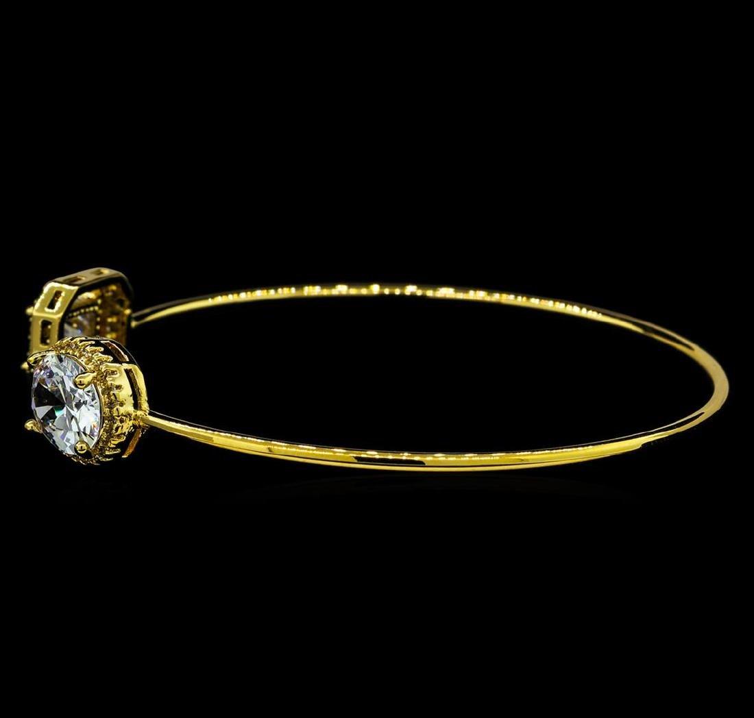 CZ Open Bangle Bracelet - Gold Plated - 2