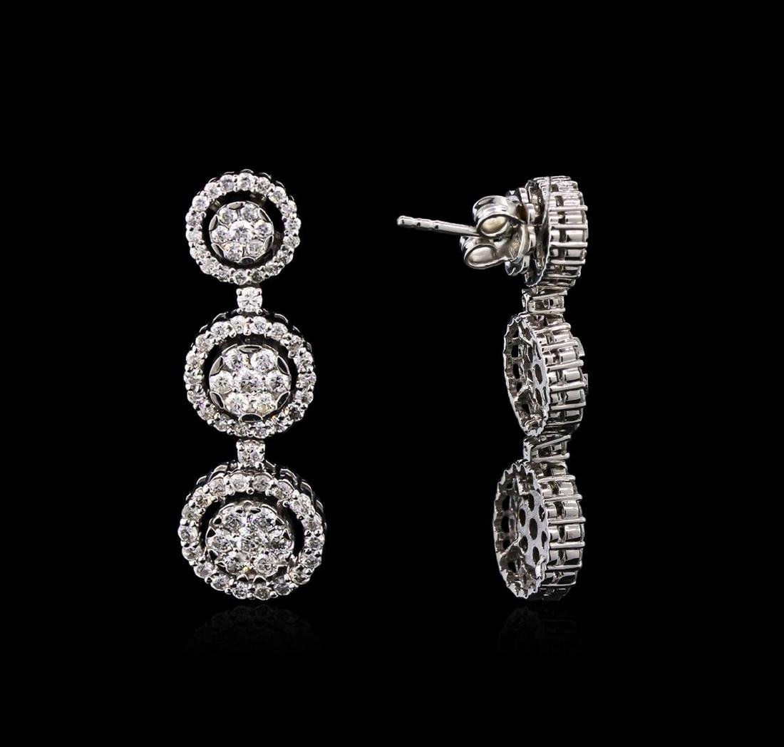 2.68 ctw Diamond Earrings - 14KT White Gold - 2
