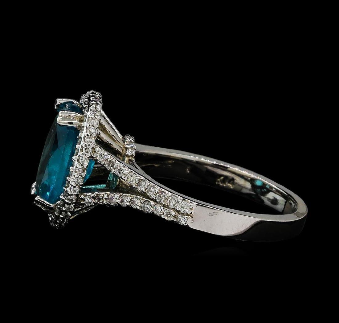 3.62 ctw Tanzanite and Diamond Ring - 14KT White Gold - 3