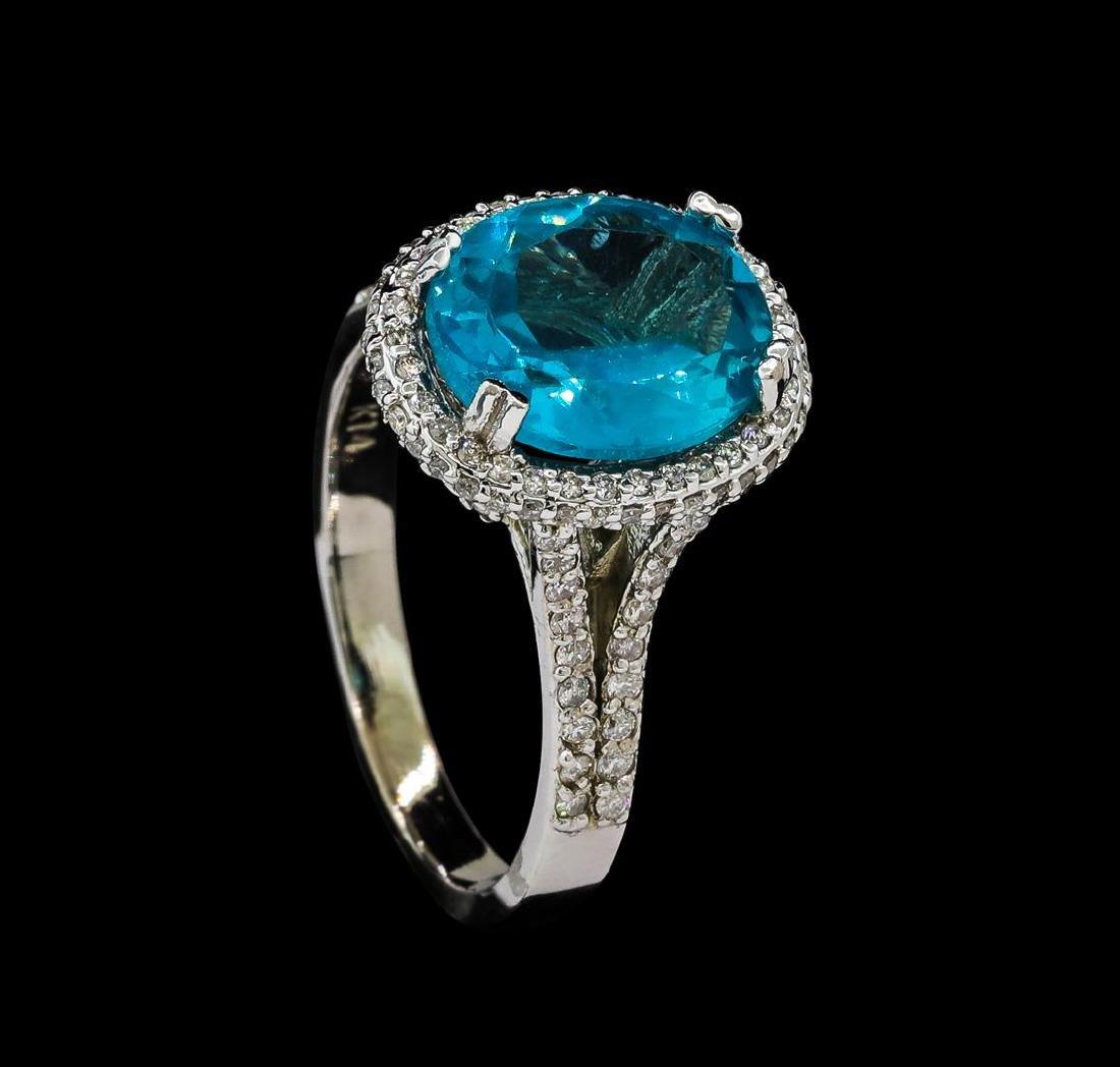 3.62 ctw Tanzanite and Diamond Ring - 14KT White Gold - 4
