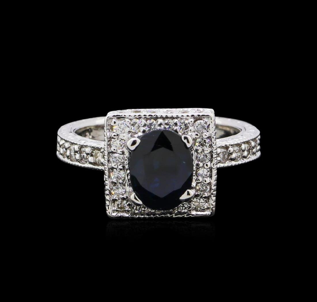 1.68 ctw Sapphire and Diamond Ring - 14KT White Gold - 2