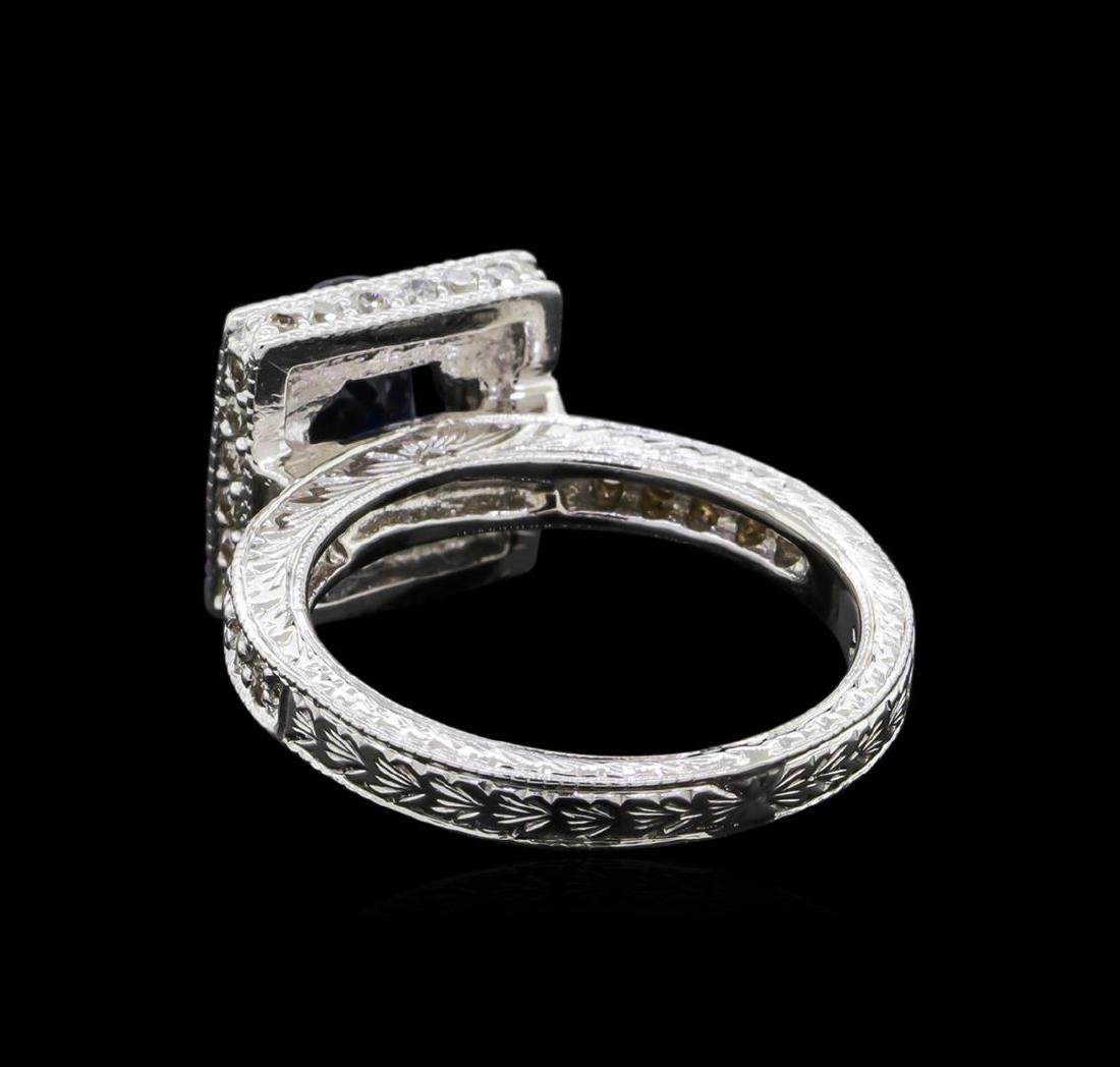 1.68 ctw Sapphire and Diamond Ring - 14KT White Gold - 3