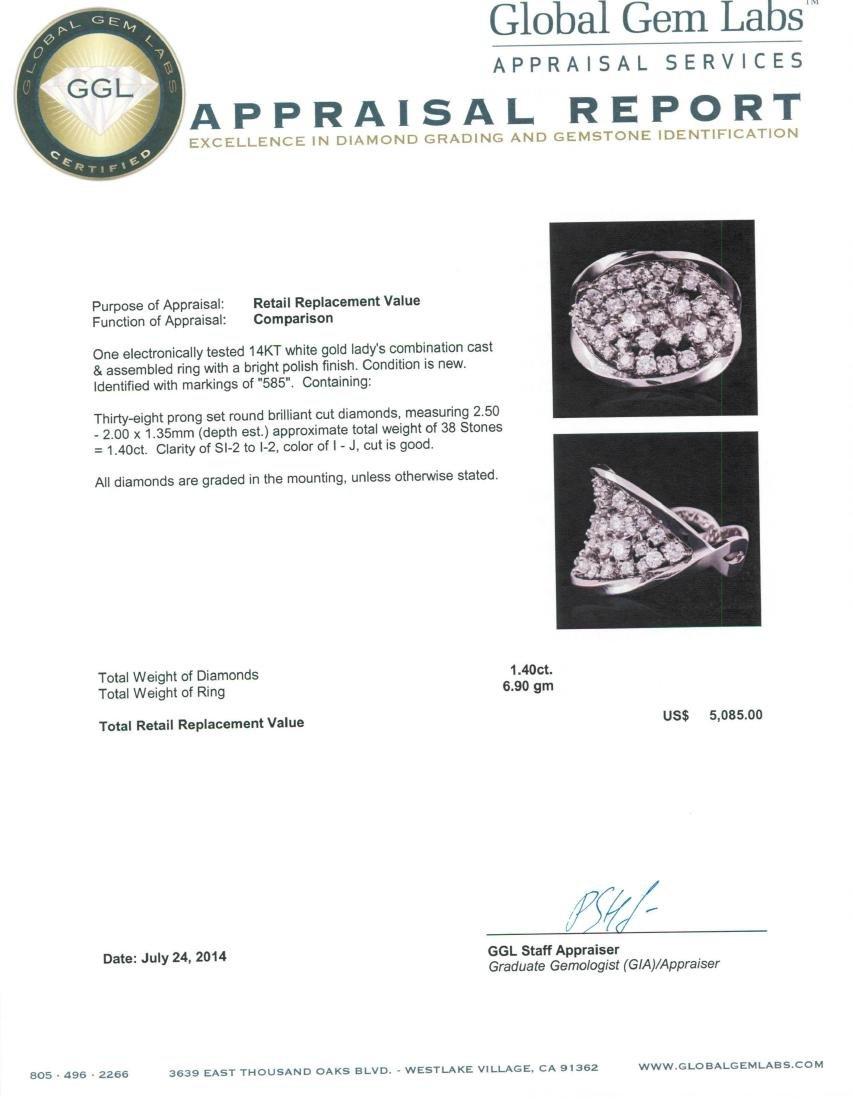 14KT White Gold 1.40 ctw Diamond Ring - 5