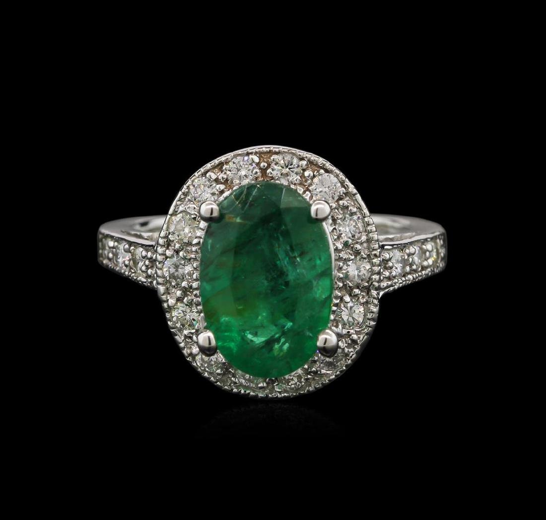2.93 ctw Emerald and Diamond Ring - 14KT White Gold - 2