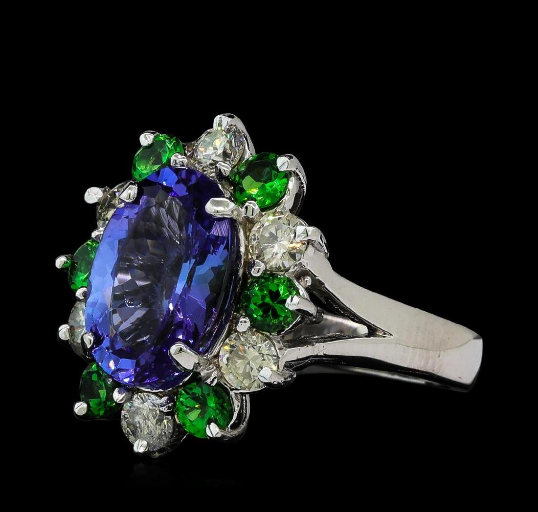 3.90 ctw Tanzanite, Tsavorite and Diamond Ring - 14KT