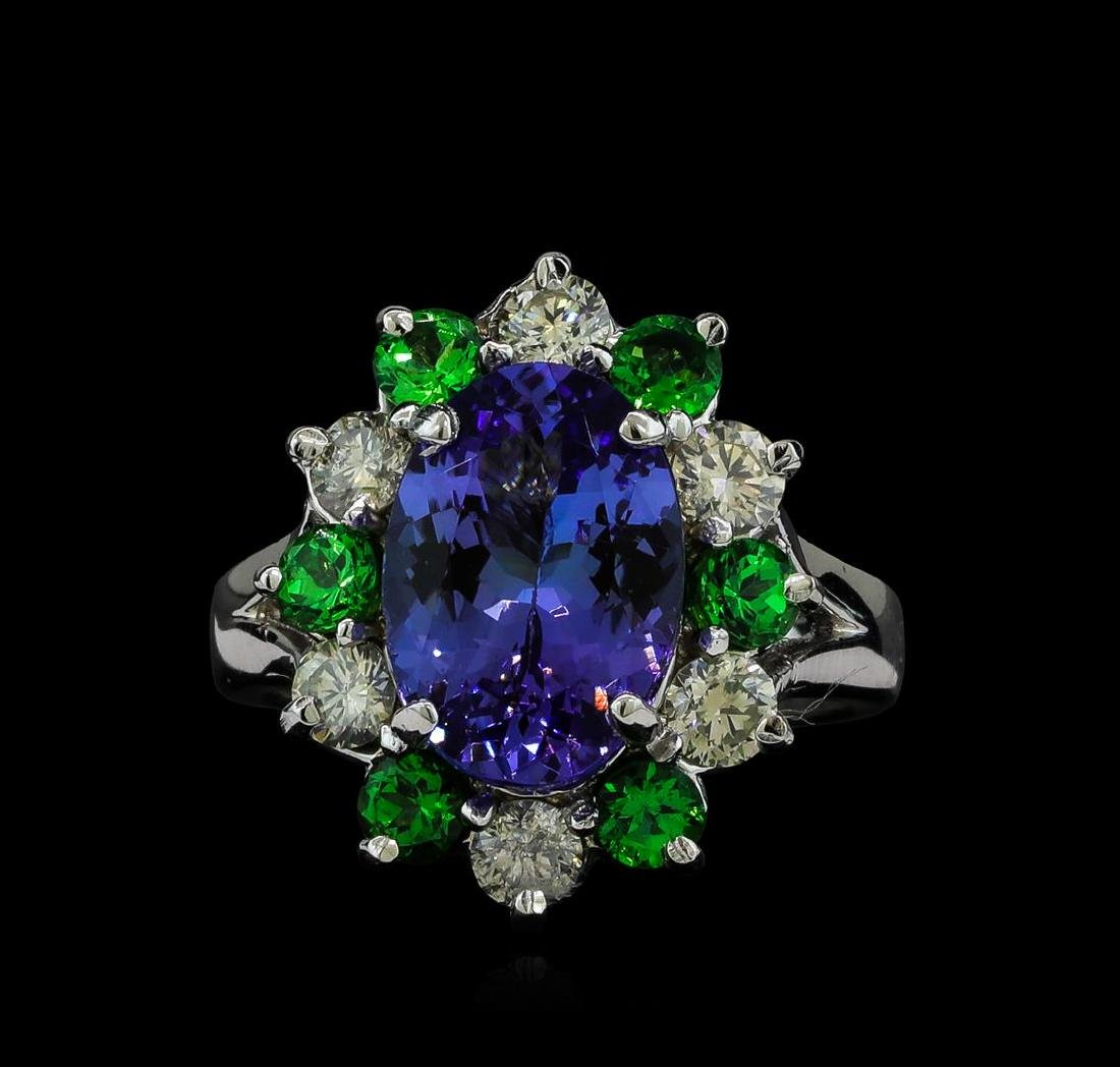 3.90 ctw Tanzanite, Tsavorite and Diamond Ring - 14KT - 2