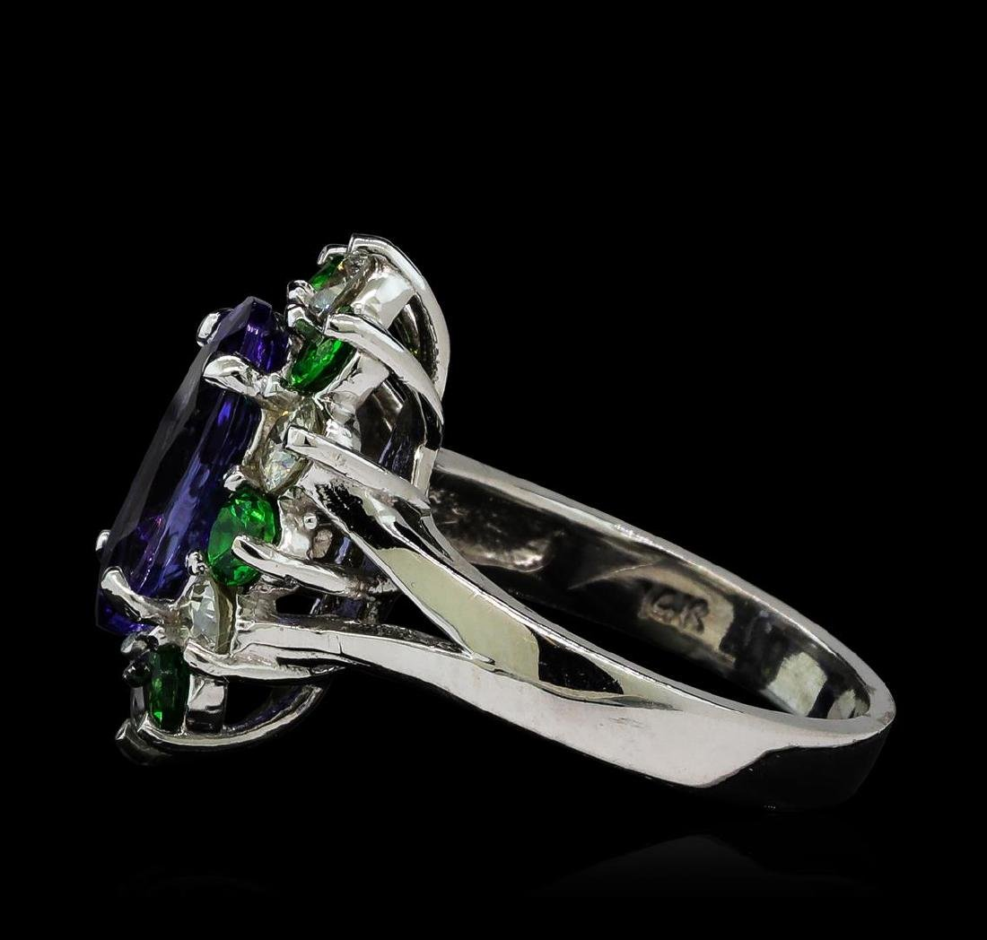 3.90 ctw Tanzanite, Tsavorite and Diamond Ring - 14KT - 3