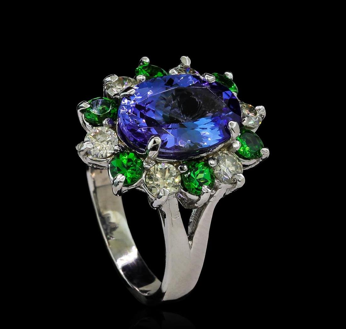 3.90 ctw Tanzanite, Tsavorite and Diamond Ring - 14KT - 4