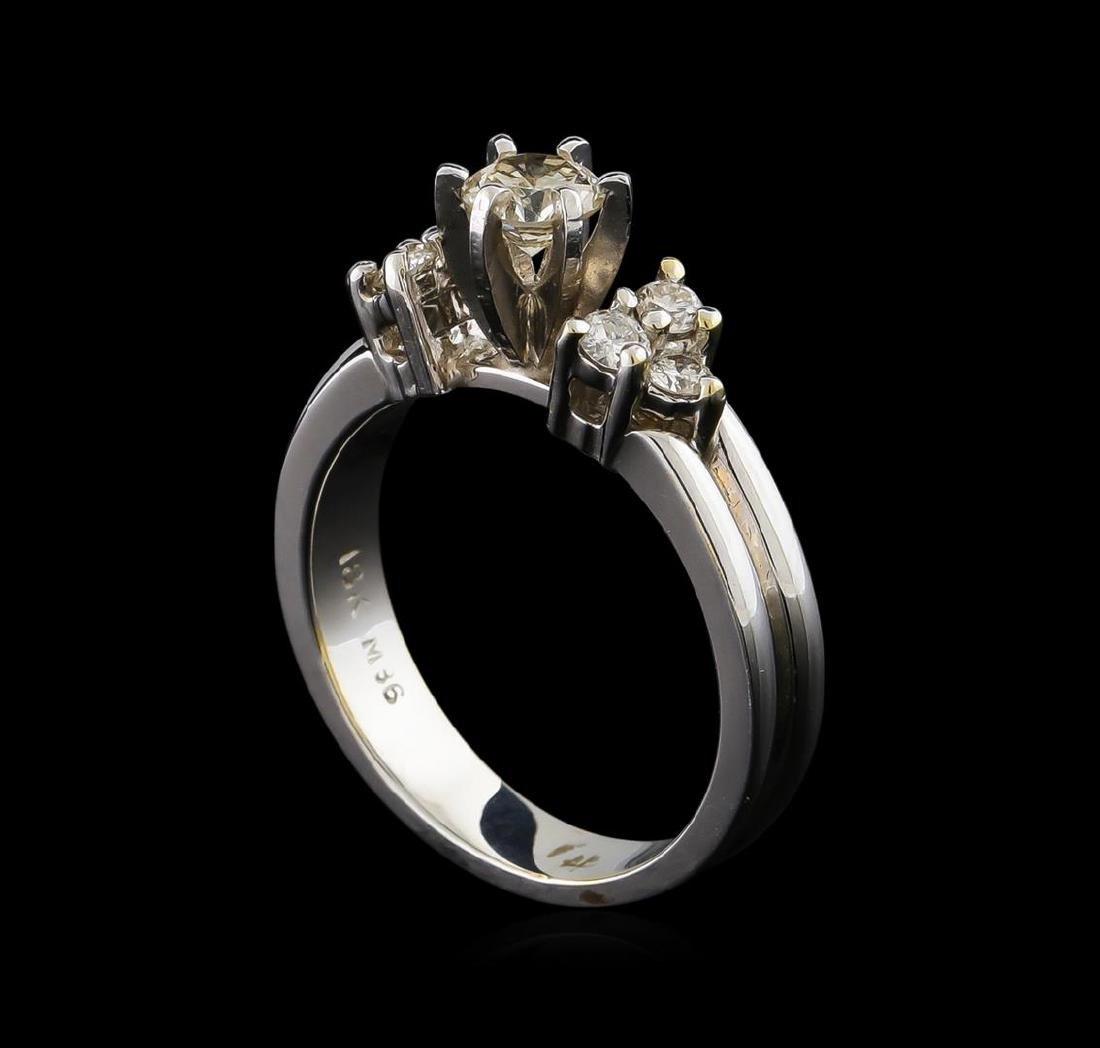 0.74 ctw Diamond Ring - 18KT White Gold - 4
