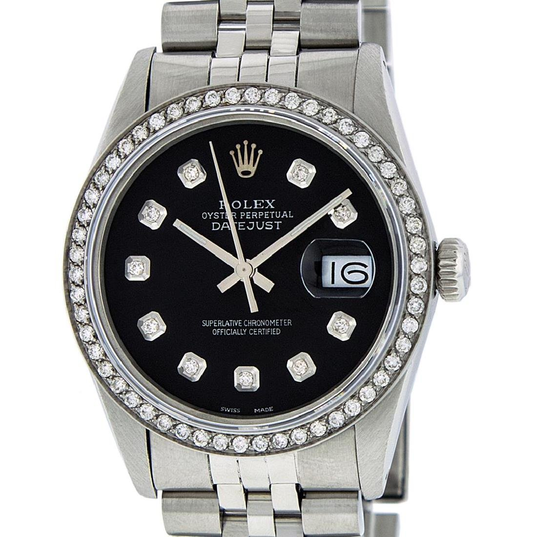 Rolex Mens Stainless Steel Black Diamond 36MM Datejust - 2