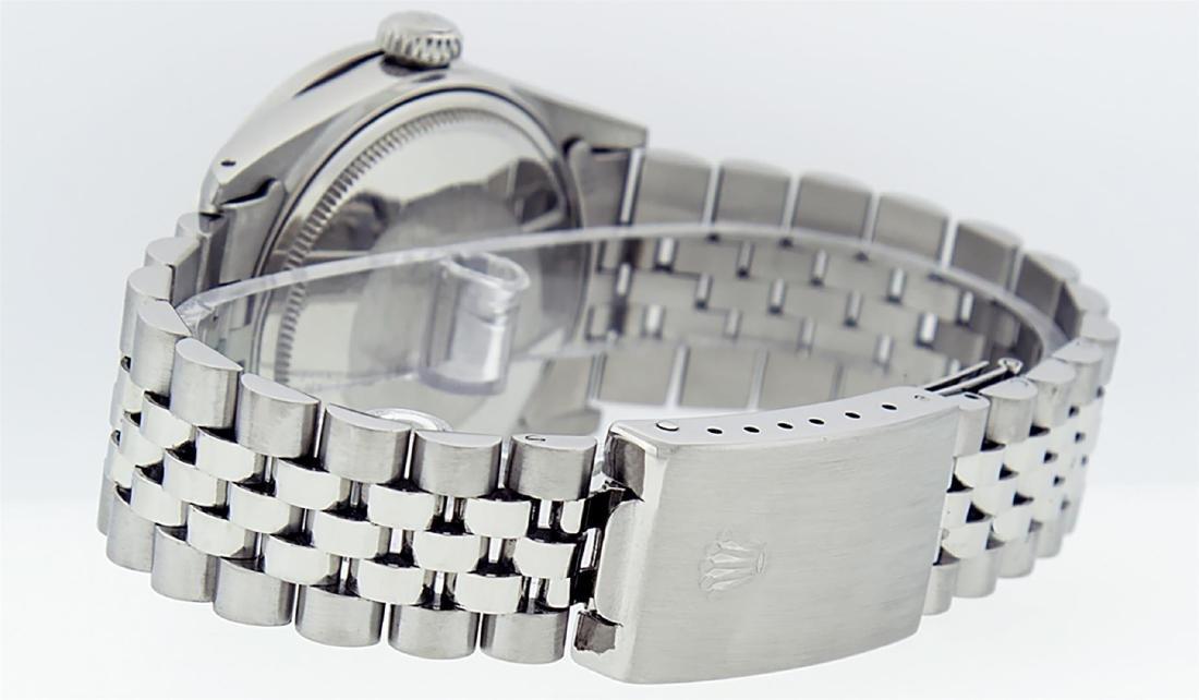 Rolex Mens Stainless Steel Black Diamond 36MM Datejust - 7