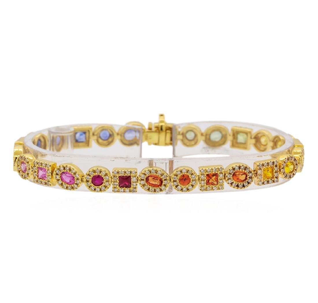 5.11 ctw Multi Color Sapphire and Diamond Bracelet -