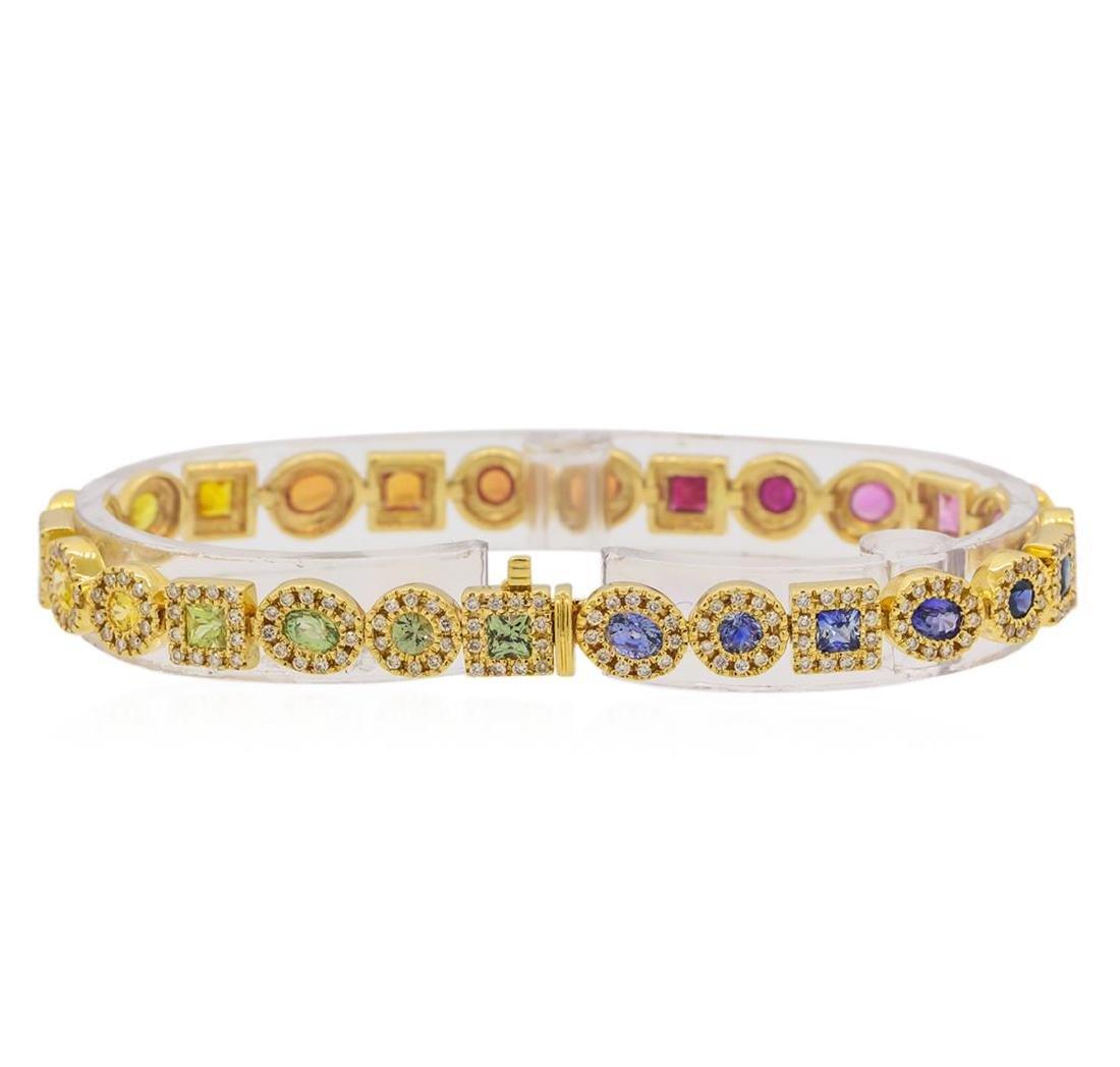 5.11 ctw Multi Color Sapphire and Diamond Bracelet - - 2