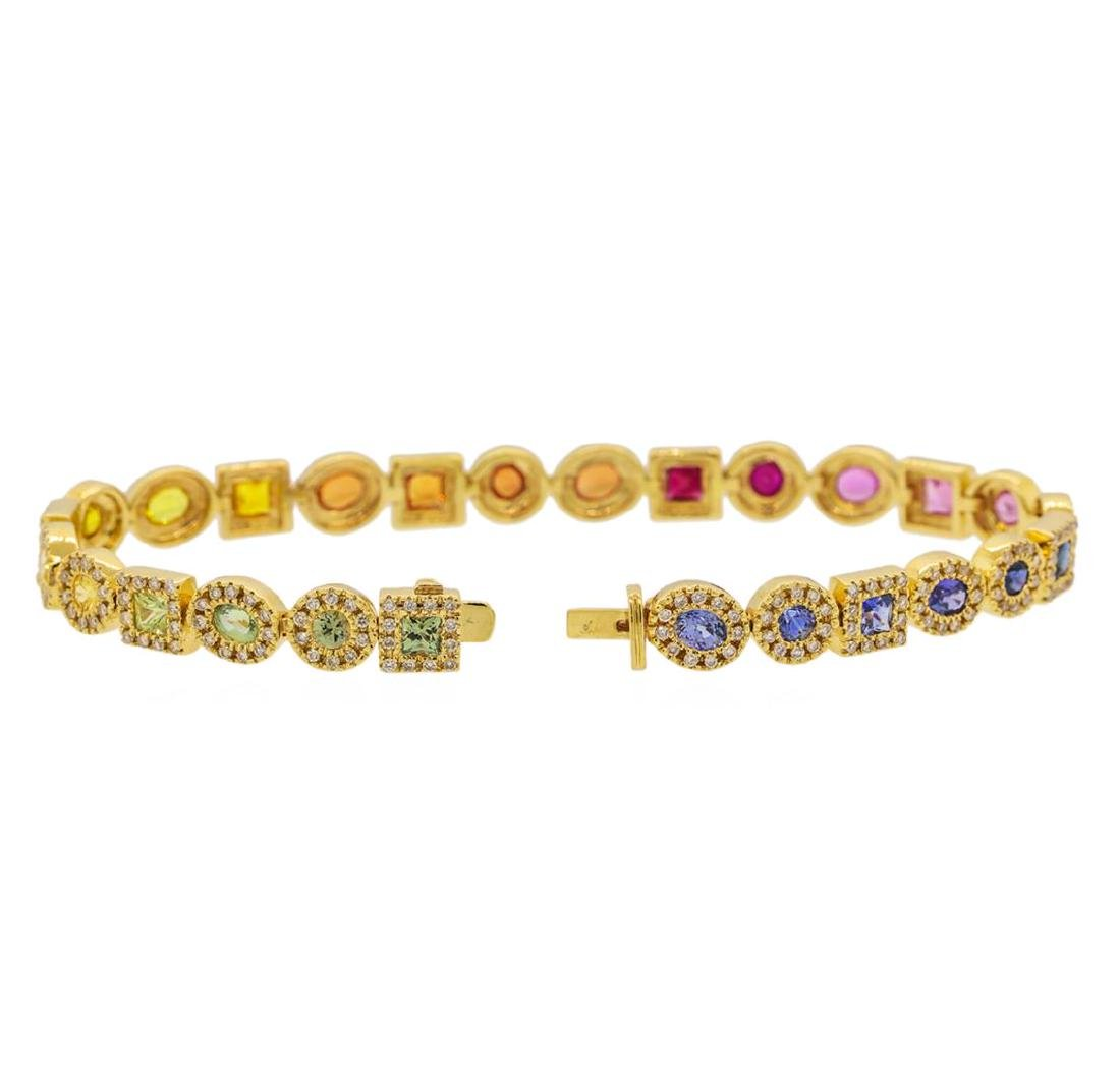5.11 ctw Multi Color Sapphire and Diamond Bracelet - - 3