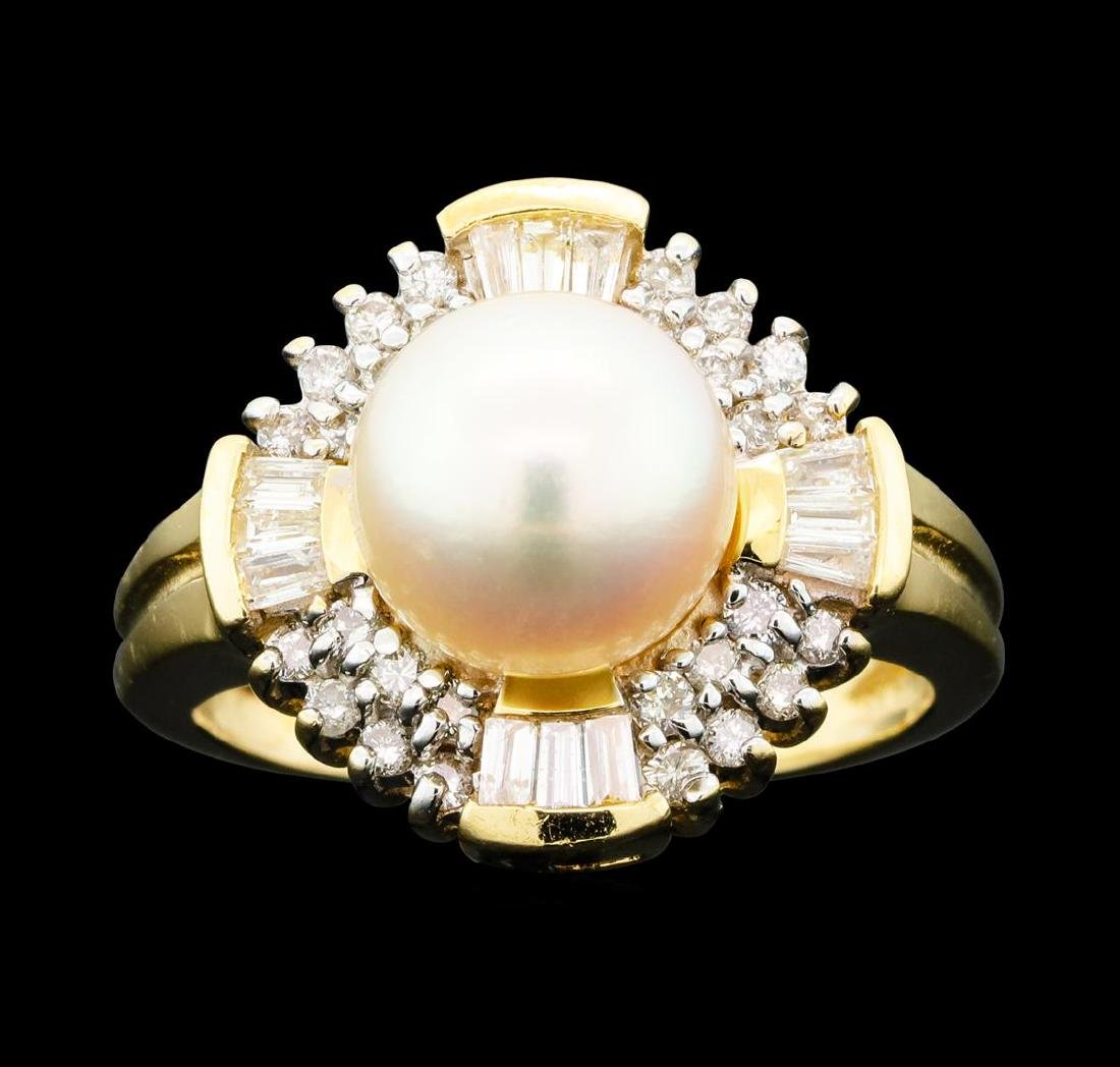 0.60 ctw Diamond and Pearl Ring - 14KT Yellow Gold - 2