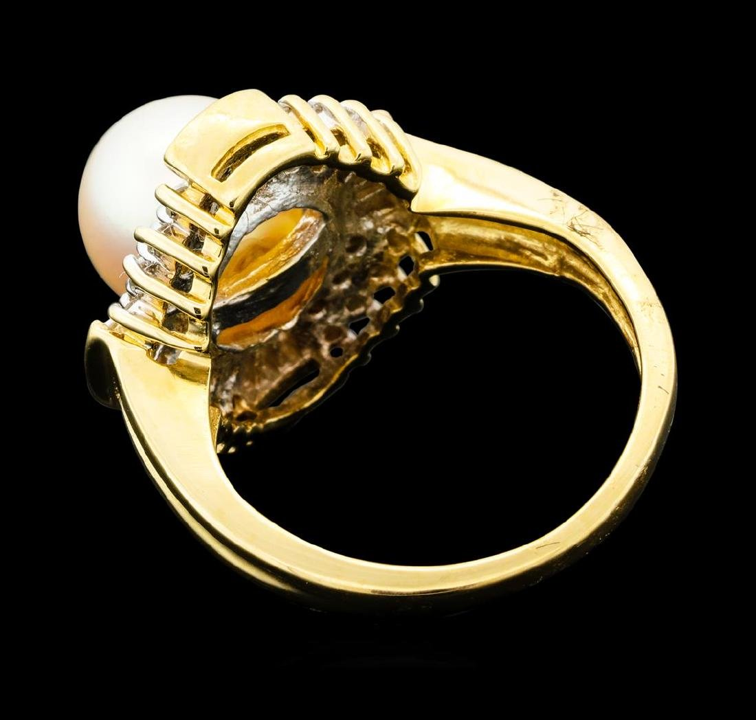 0.60 ctw Diamond and Pearl Ring - 14KT Yellow Gold - 3