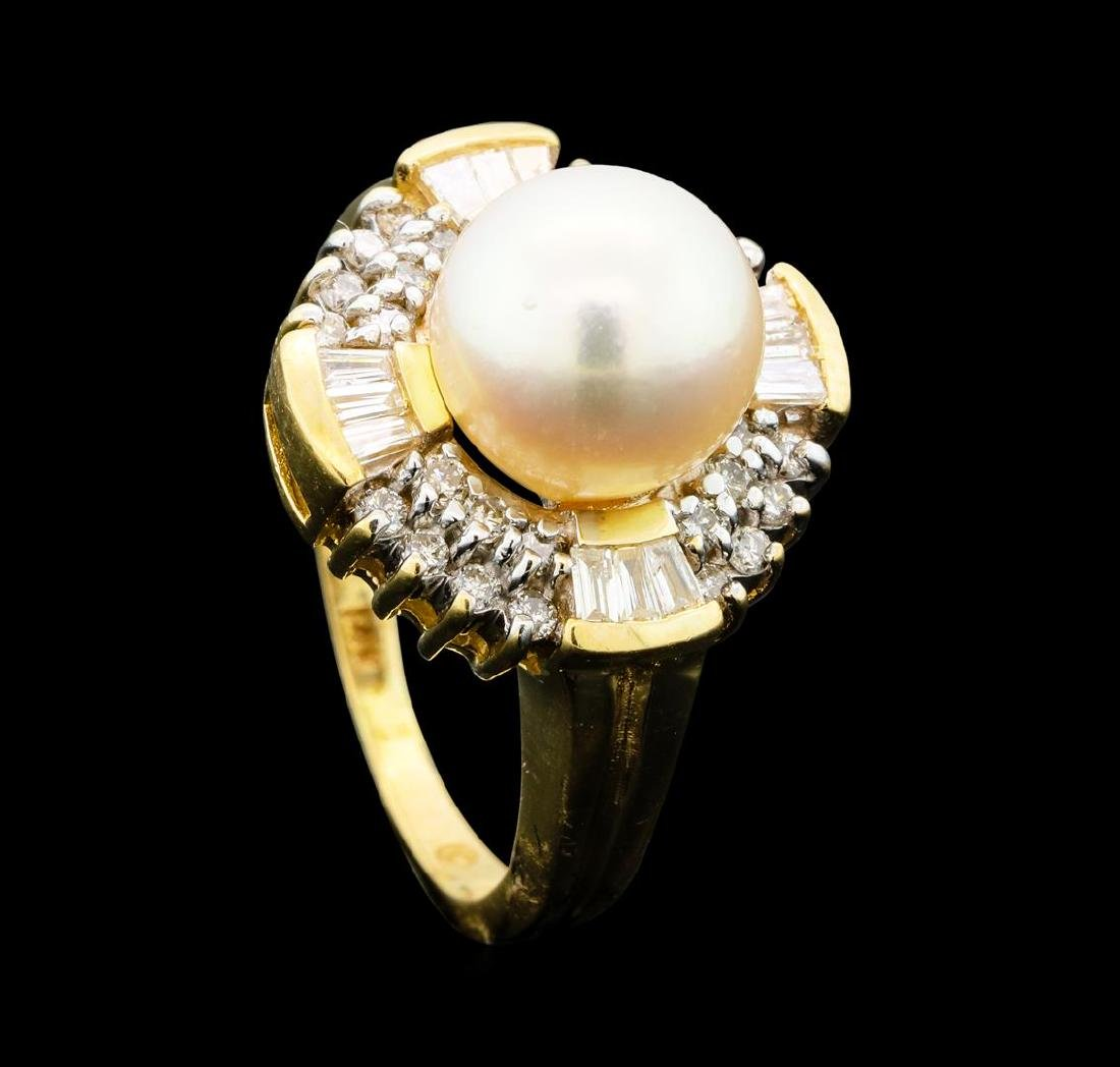 0.60 ctw Diamond and Pearl Ring - 14KT Yellow Gold - 4