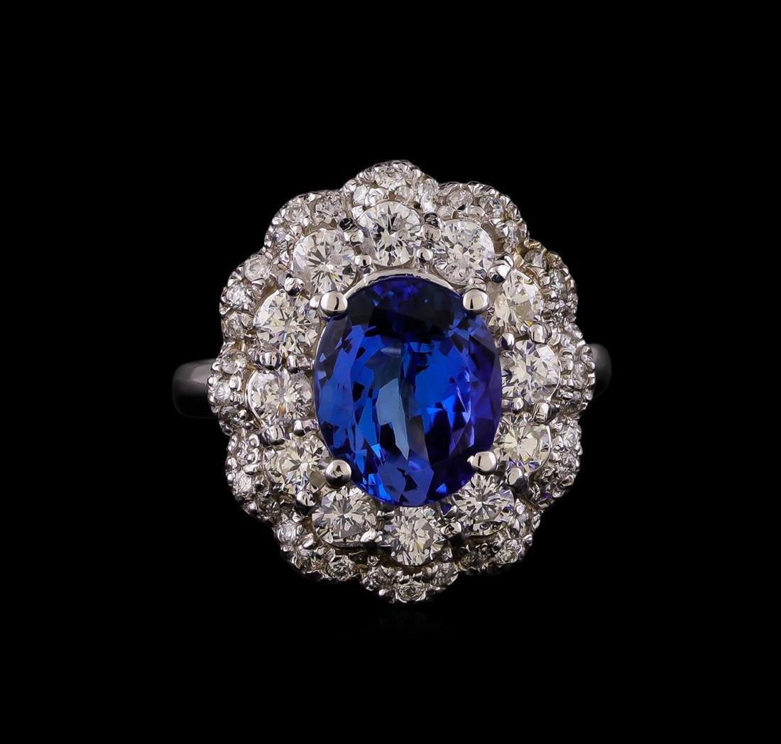 14KT White Gold 3.15 ctw Tanzanite and Diamond Ring - 2