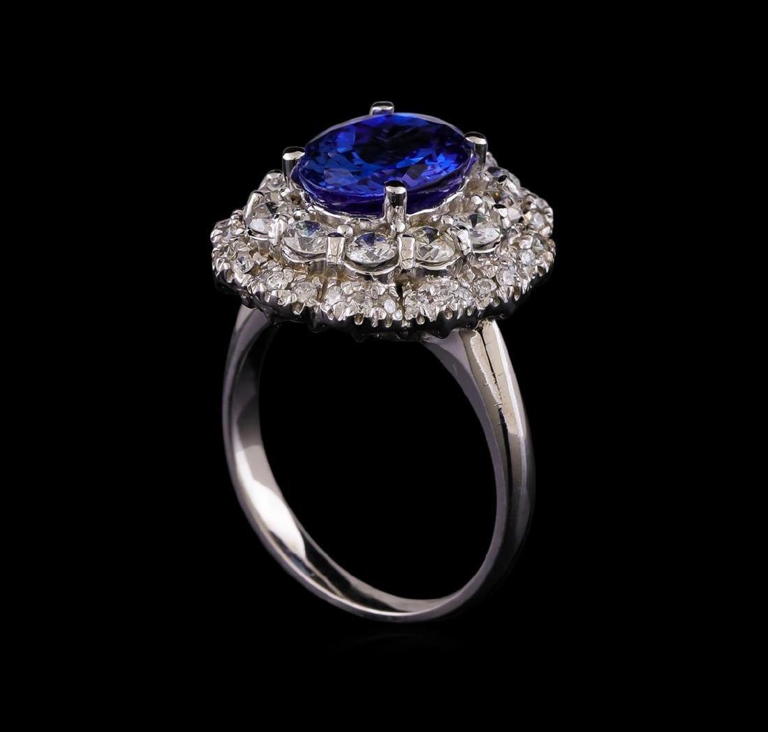 14KT White Gold 3.15 ctw Tanzanite and Diamond Ring - 4