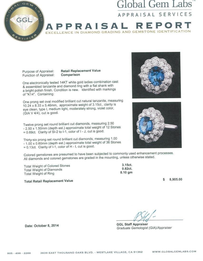 14KT White Gold 3.15 ctw Tanzanite and Diamond Ring - 5