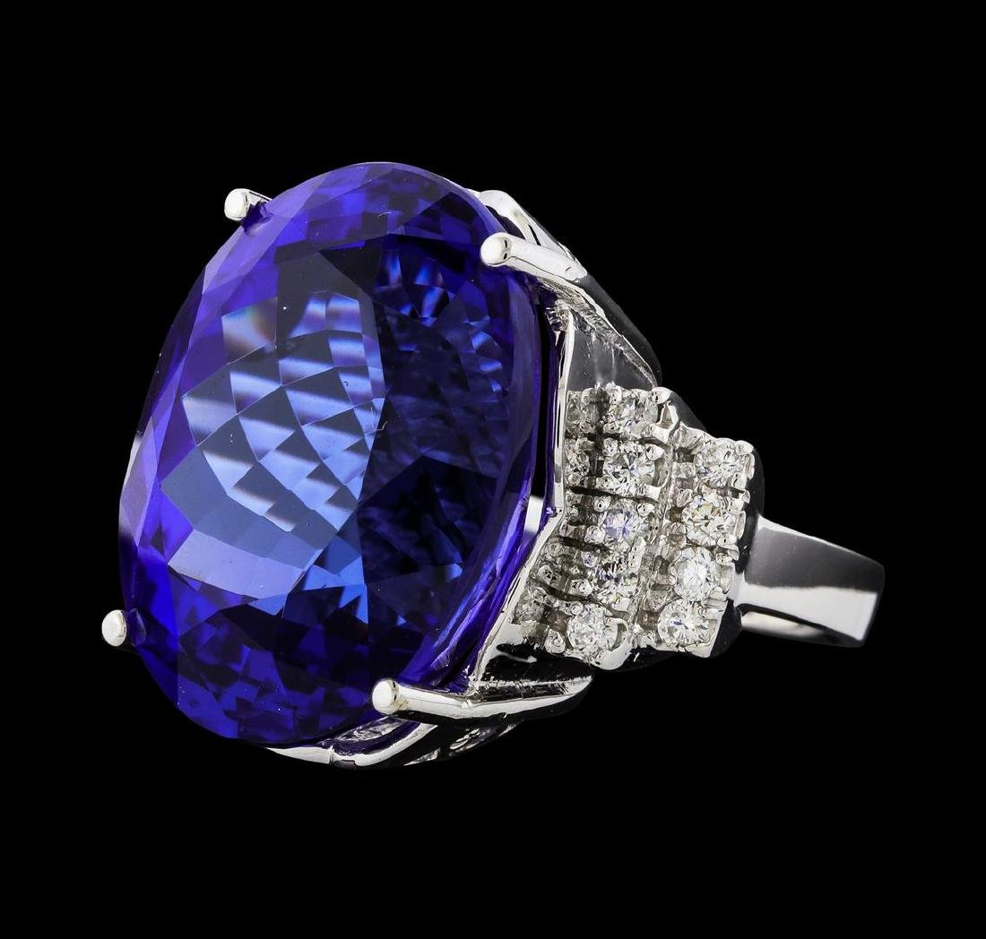 GIA Cert 43.95 ctw Tanzanite and Diamond Ring - 14KT