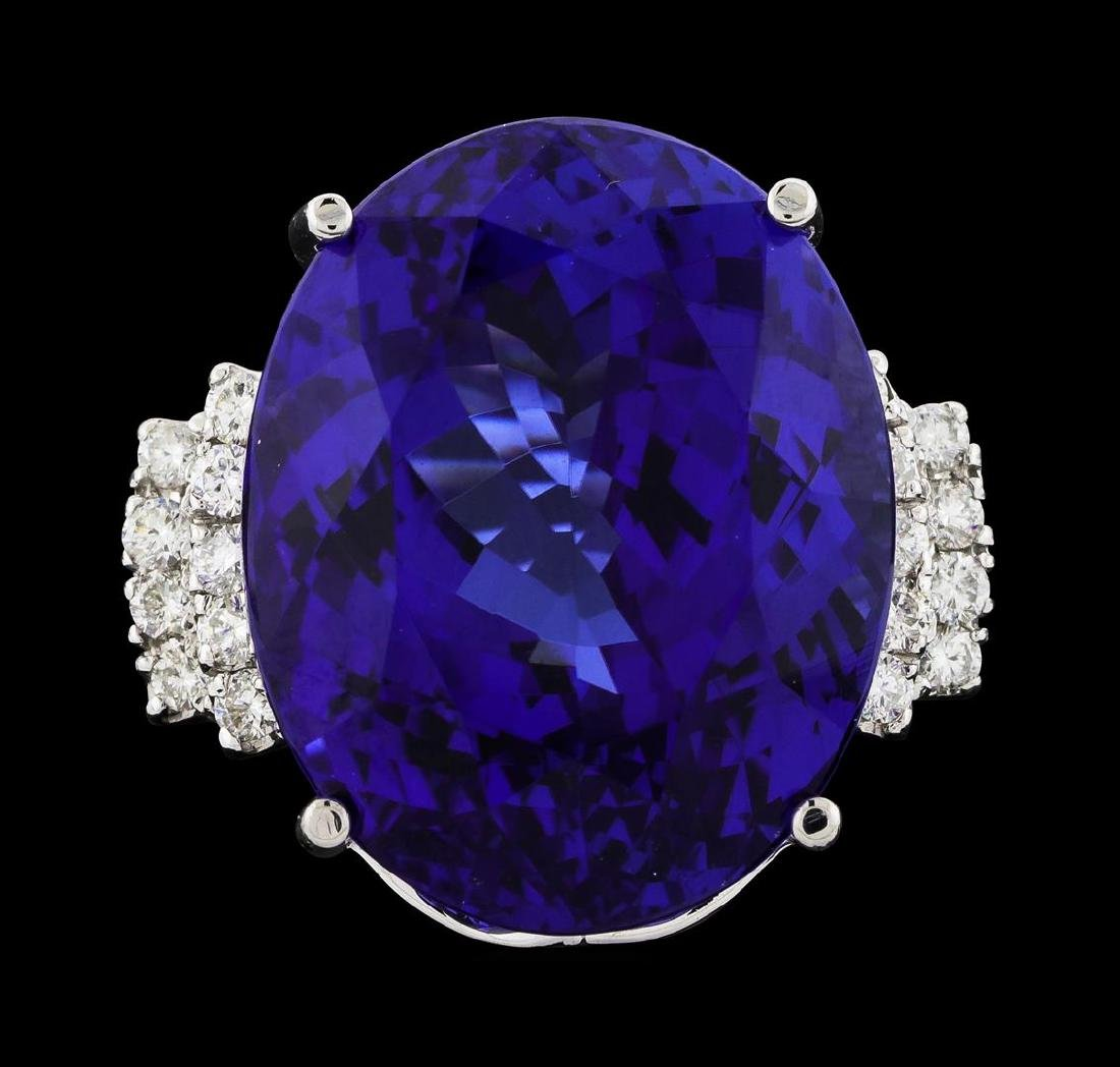 GIA Cert 43.95 ctw Tanzanite and Diamond Ring - 14KT - 2
