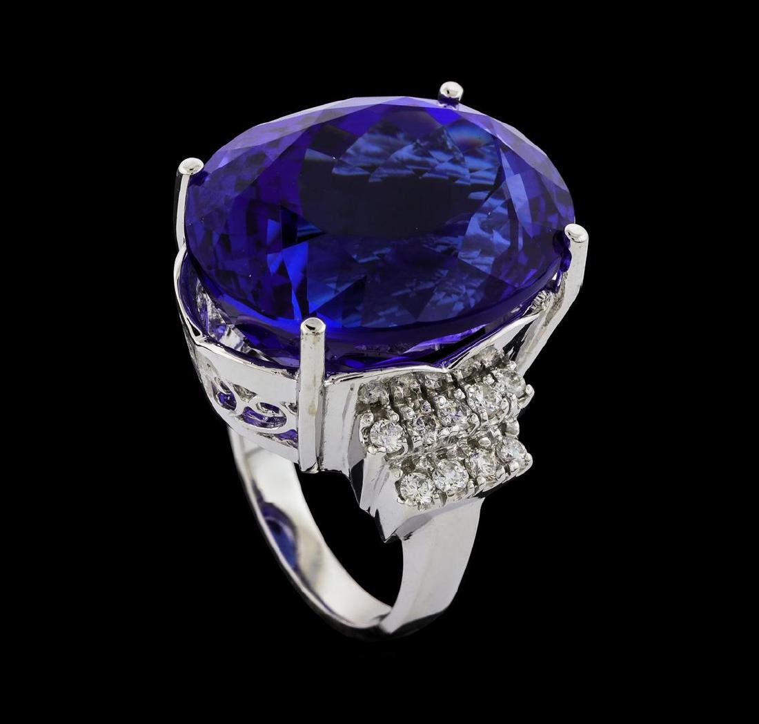 GIA Cert 43.95 ctw Tanzanite and Diamond Ring - 14KT - 4