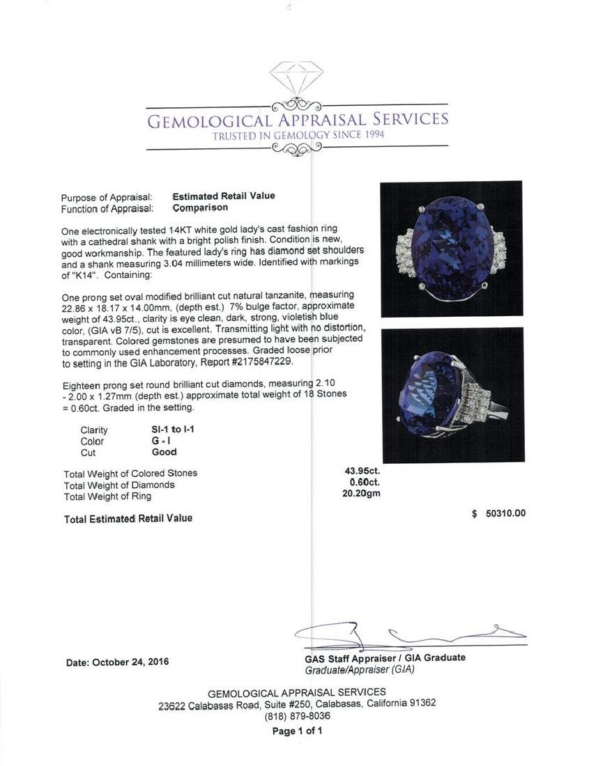 GIA Cert 43.95 ctw Tanzanite and Diamond Ring - 14KT - 5