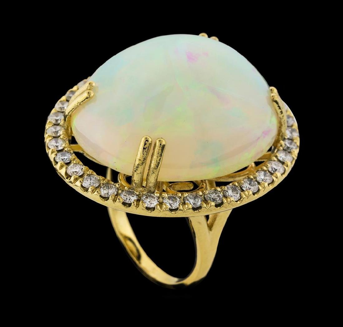 25.20 ctw Opal and Diamond Ring - 14KT Yellow Gold - 4