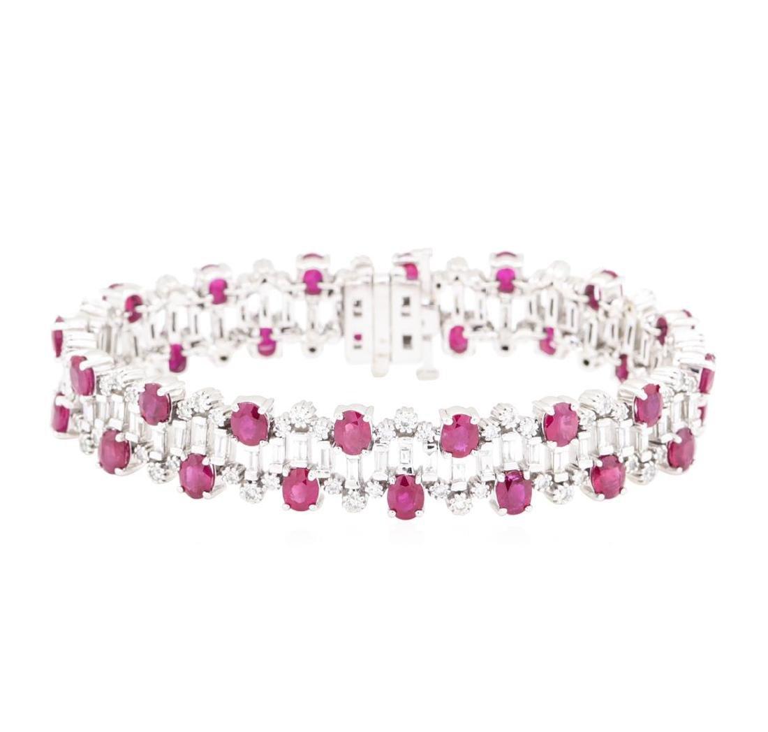 15.96 ctw Colored Stone And Diamond Bracelet - 14KT