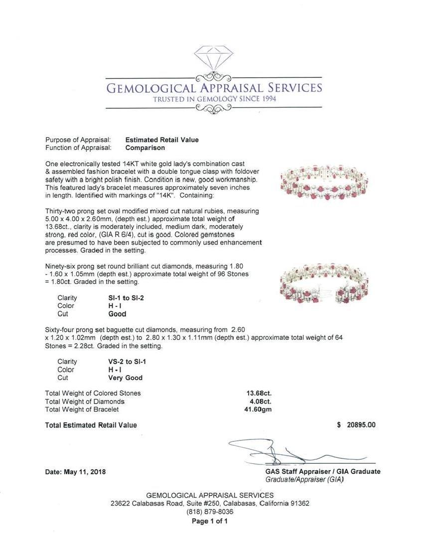 15.96 ctw Colored Stone And Diamond Bracelet - 14KT - 4