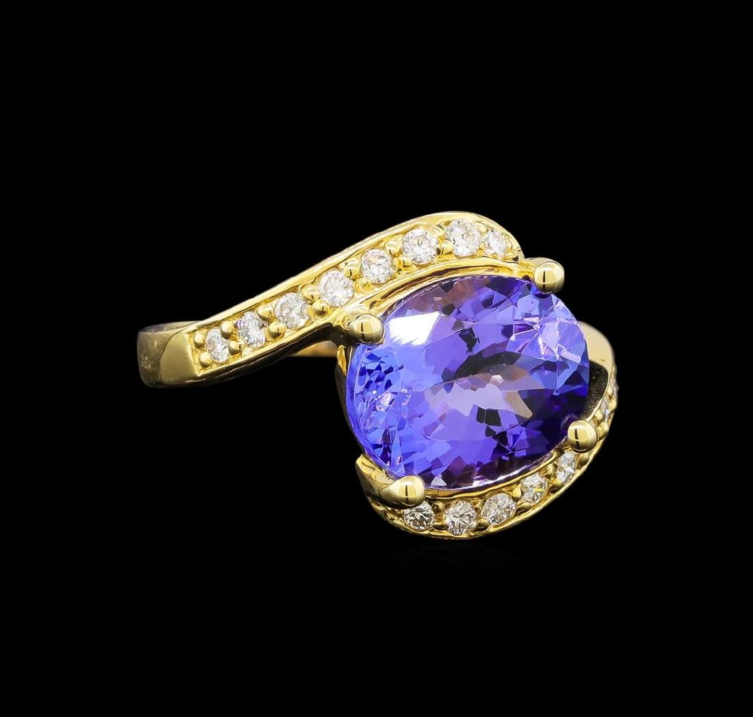 14KT Yellow Gold 4.49 ctw Tanzanite and Diamond Ring
