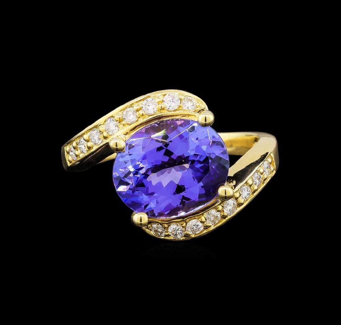 14KT Yellow Gold 4.49 ctw Tanzanite and Diamond Ring - 2