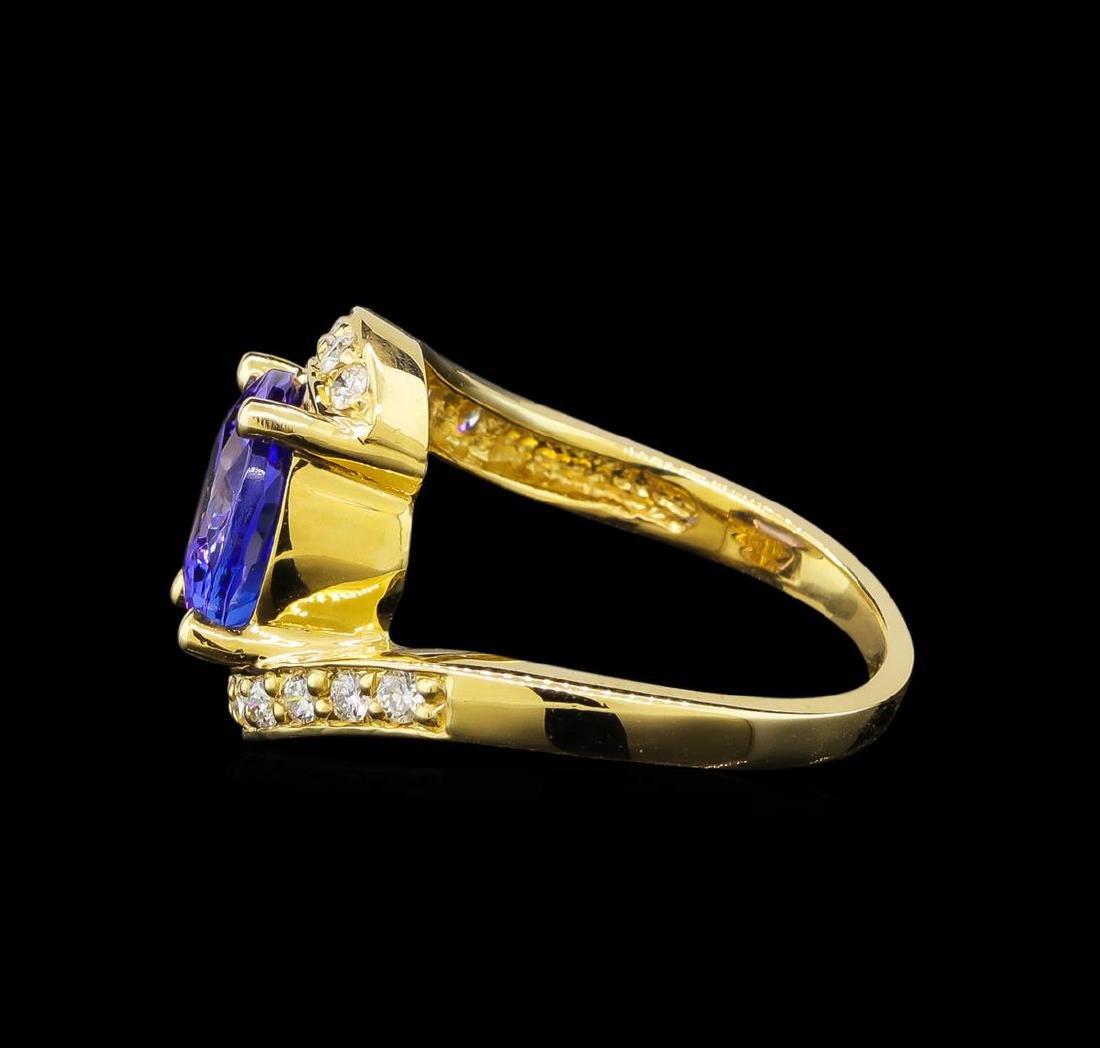 14KT Yellow Gold 4.49 ctw Tanzanite and Diamond Ring - 3