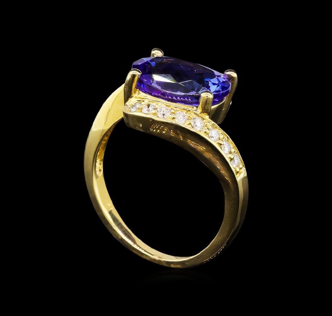 14KT Yellow Gold 4.49 ctw Tanzanite and Diamond Ring - 4
