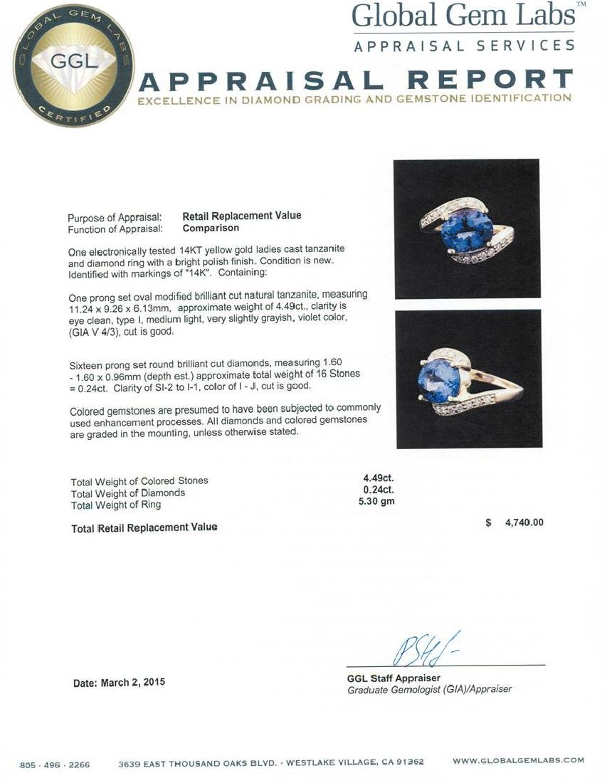 14KT Yellow Gold 4.49 ctw Tanzanite and Diamond Ring - 5