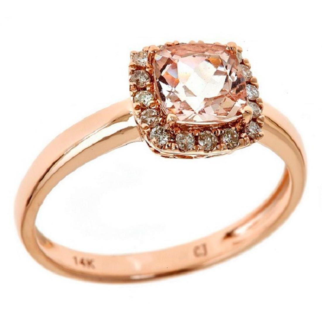 0.9 ctw Morganite and Diamond Ring - 14KT Rose Gold - 2