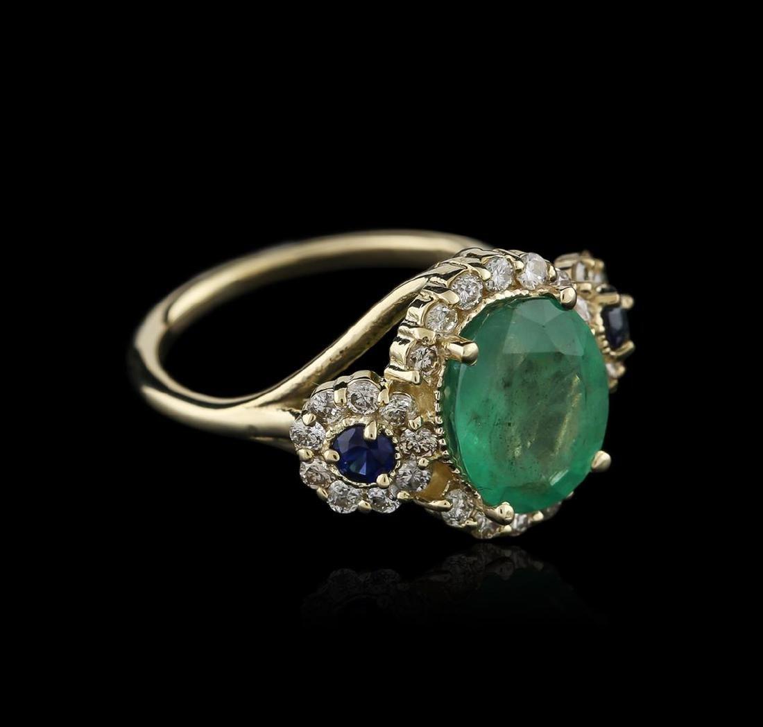 14KT Yellow Gold 3.06 ctw Emerald, Sapphire and Diamond