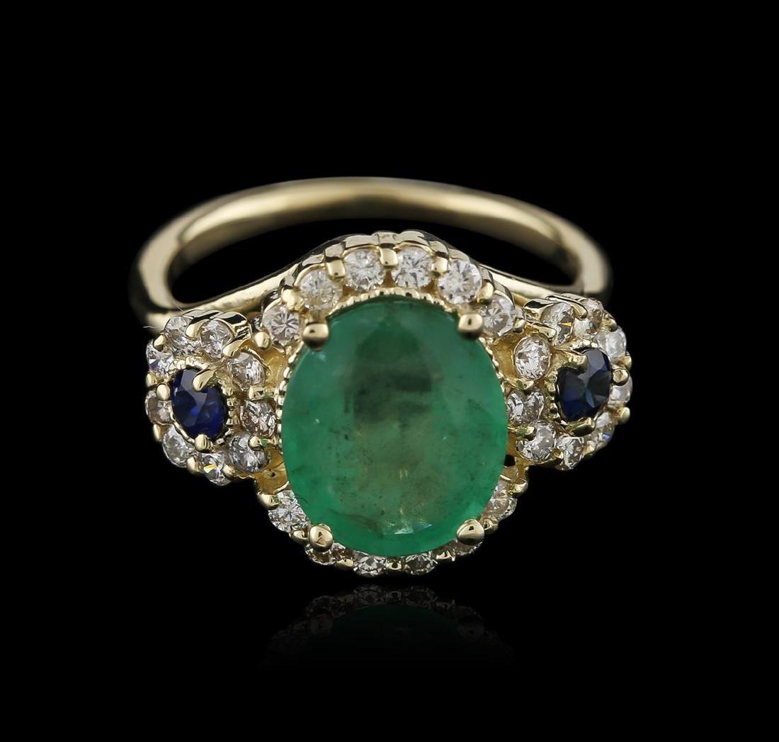 14KT Yellow Gold 3.06 ctw Emerald, Sapphire and Diamond - 2
