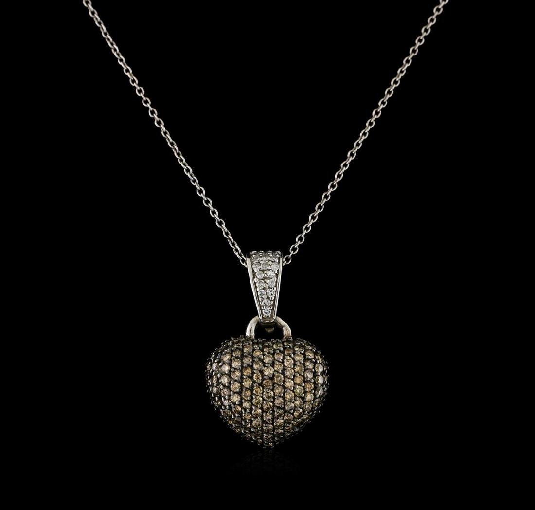0.83 ctw Light Brown Diamond Heart Pendant With Chain -