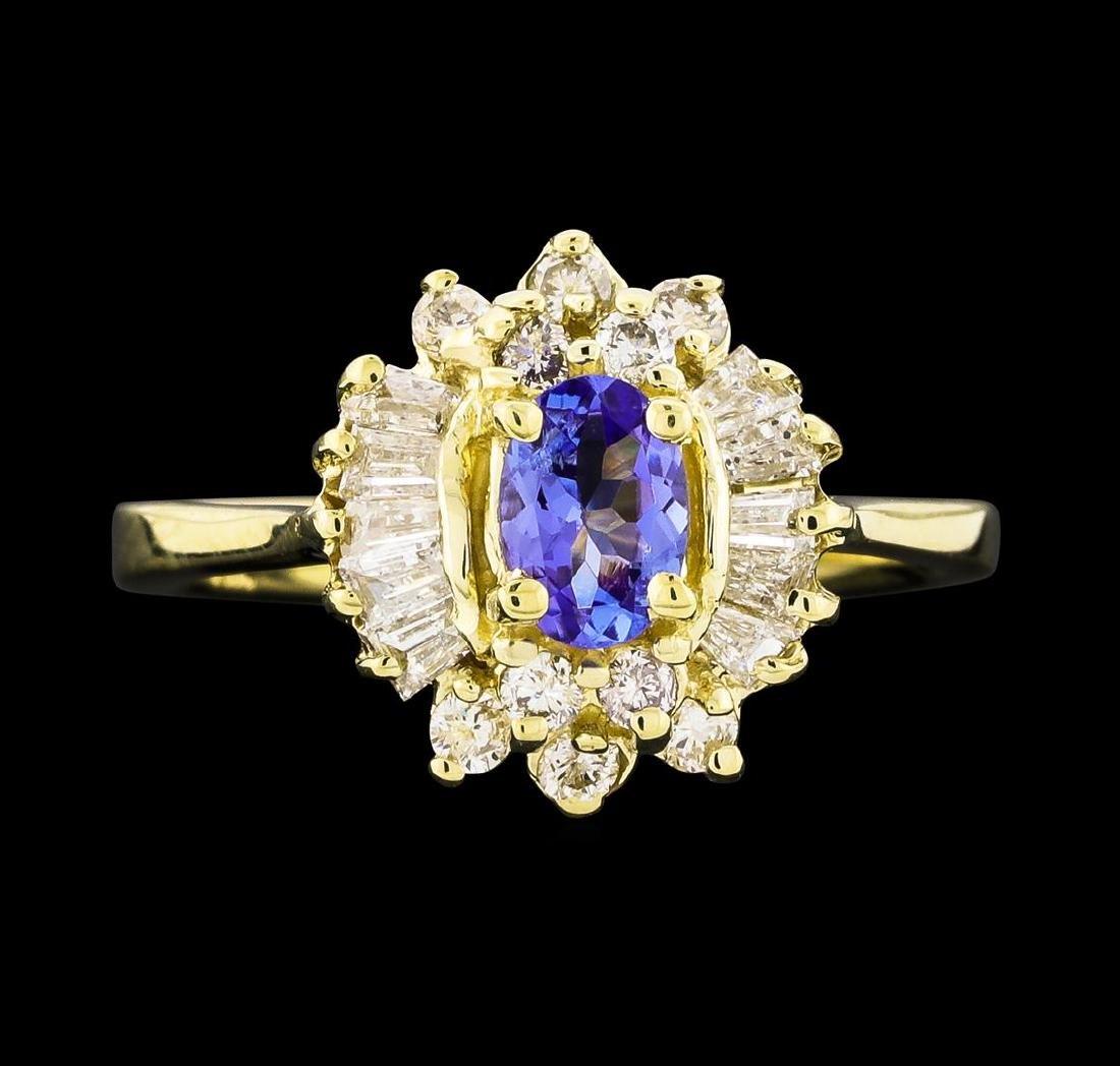 0.35 ctw Tanzanite and Diamond Ring - 14KT Yellow Gold - 2