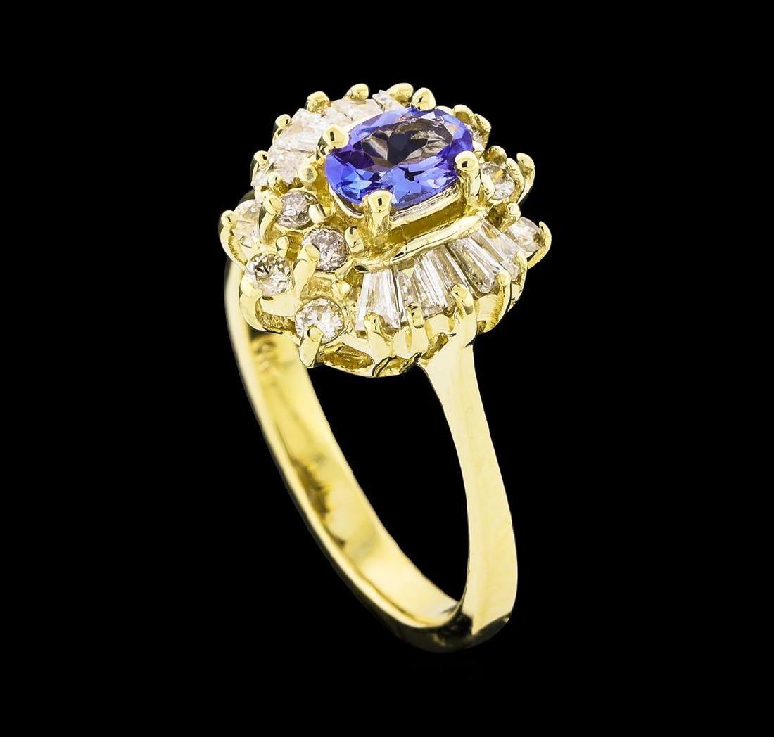 0.35 ctw Tanzanite and Diamond Ring - 14KT Yellow Gold - 4