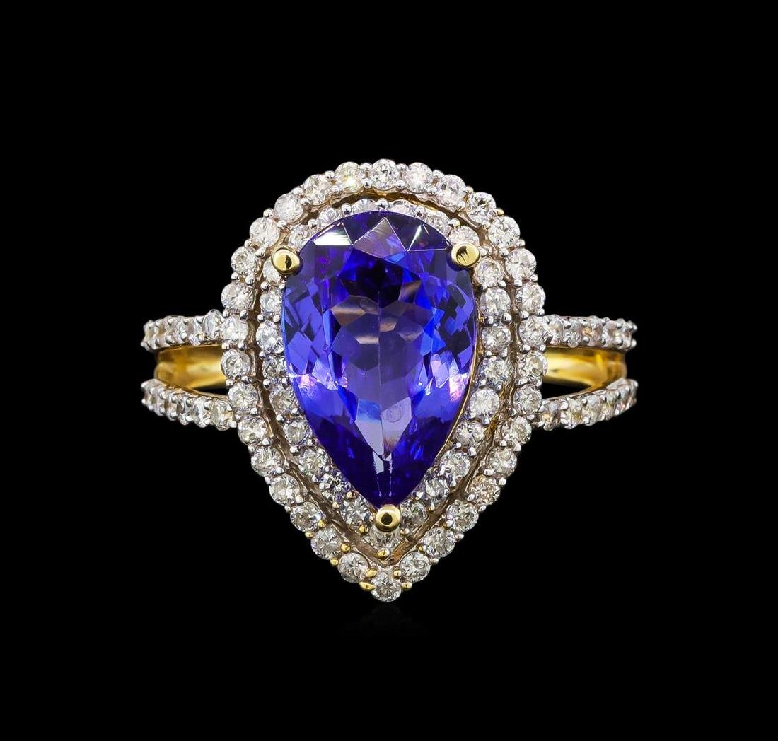 14KT Yellow Gold 3.19 ctw Tanzanite and Diamond Ring - 2