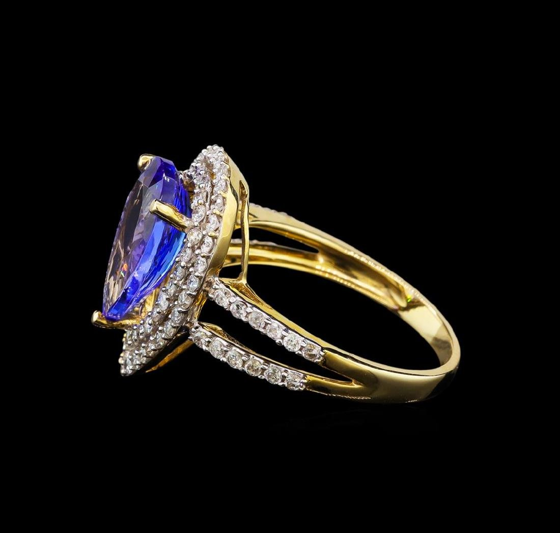14KT Yellow Gold 3.19 ctw Tanzanite and Diamond Ring - 3